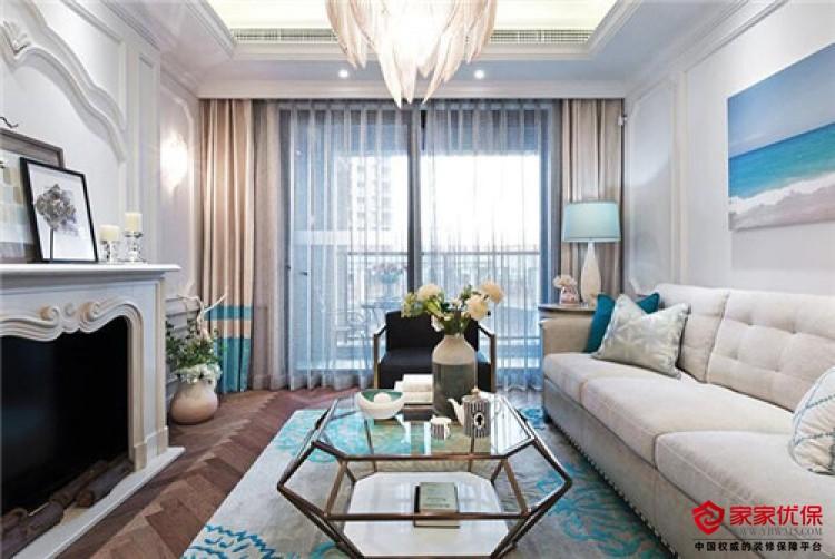二房二厅装修效果图 82平美式风二居室样板房